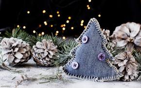 Картинка украшения, праздник, новый год, рождество, ёлочка, хвоя, шишки, боке, декор, поделка