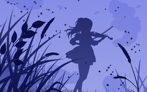 Картинка трава, девушка, скрипка, аниме, Shigatsu wa Kimi no Uso, Твоя апрельская ложь