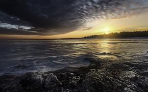 Обои зима, закат, берег