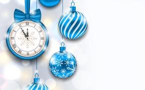 Картинка время, блики, фон, праздник, шары, часы, новый год, рождество, вектор, синие, полночь