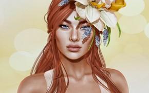 Картинка глаза, взгляд, девушка, цветы, лицо, волосы, губы