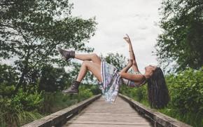 Обои девушка, левитация, Levitation, платье, волосы