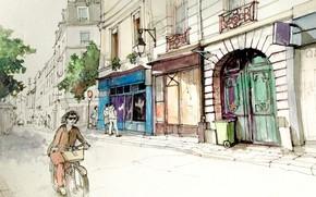 Картинка улица, рисунок, Франция, Париж, дома, акварель