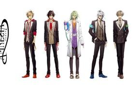 Картинка очки, костюм, белый фон, парни, зеленые волосы, art, Amnesia, Shin, Kent, Toma, Ikki, Hanamura Mai, …