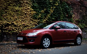 Картинка машина, осень, листья, Ситроен, Citroen, Car, автомобиль, France, Citroen C4