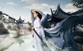 Картинка девушка, меч, азиатка