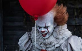 Обои 2017, Red, Clown, Bill Skarsgård, It, Pennywise