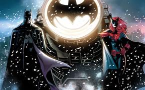Картинка Зима, Снег, Знак, Герои, Бэтмен, Костюм, Летучая мышь, Маска, Комикс, Heroes, Плащ, Superheroes, Прожектор, Рыжая, …