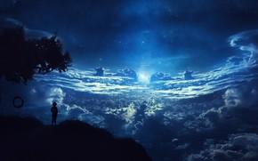 Обои облака, мечты, фантастика, дерево, силуэт, звездная ночь, childs adventure, детские приключения