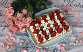 Картинка Клубника, Букет, Лепестки, Strawberry, Торт, Cake, Bouquet, Розовые розы, Фруктовый торт