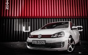 Картинка Volkswagen, White, Golf, GTI