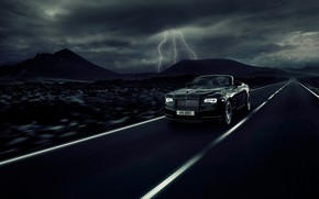 Картинка car, Rolls Royce, asphalt, fast, Rolls Royce Dawn Black Badge
