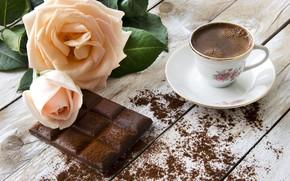 Картинка цветы, кофе, шоколад, розы