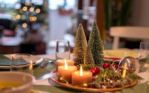 Картинка стол, праздник, свечи, посуда, украшенные