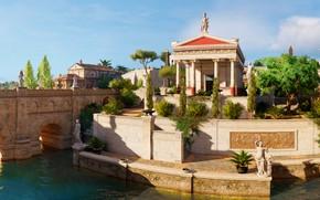 Картинка мост, город, река, Assassin's Creed Origins