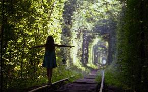 Картинка green, silhouette, Trees, train tracks