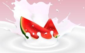 Картинка фон, арбуз, молоко, ягода, дольки
