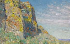 Картинка пейзаж, скалы, картина, Frederick Childe Hassam, Чайльд Гассам, Harney Desert