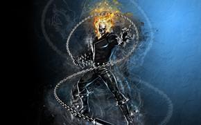 Картинка fire, skull, Ghost Rider, fantasy, Marvel, comics, digital art, artwork, superhero, fantasy art, flames, chain
