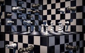 Обои объем, фигуры, шахматы, абстракция