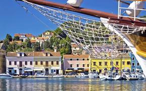 Картинка море, город, Яхта, Хорватия, Адриатика, снасти, остров Лошинь, Island Losinj