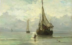 Обои парус, морской пейзаж, Спокойное Море, Хендрик Виллем Месдах, лодка, масло, холст, корабль, картина