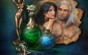 Обои женщина, зелье, статуэтка, мужчина, натюрморт, пара, The Witcher, флаконы