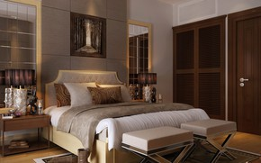 Картинка комната, кровать, сапоги, BEDROOM, RESIDENTIAL VILLA