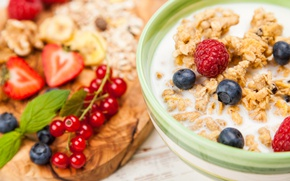 Картинка ягоды, завтрак, клубника, breakfast, milk, мюсли, muesli, fresh berries