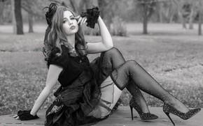 Картинка девушка, лицо, поза, стиль, ноги