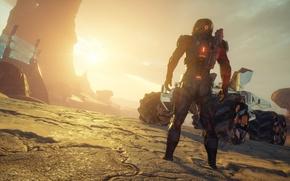 Картинка закат, главный герой, кочевник, Mass Effect Andromeda, внеземной пейзаж