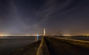 Картинка ночь, маяк, Port de St Nazaire