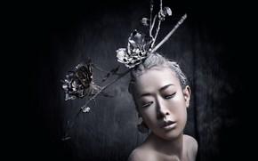 Картинка макияж, девушка, цветы