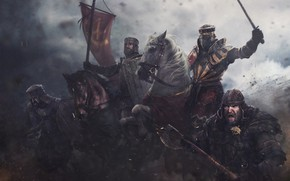 Обои оружие, лошадь, доспехи, флаг, воин, Рыцарь