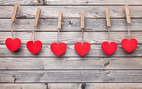 Картинка сердечки, love, wood, romantic, hearts, valentine`s day