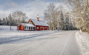 Обои зима, дом, дорога