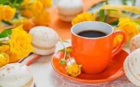Обои кофе, печенье, чашка, macaron, розы желтые
