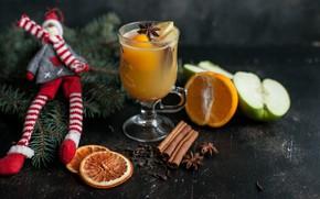 Картинка яблоко, снеговик, цитрус, напиток, декор