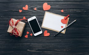 Картинка Сердечки, Праздник, Телефон, Карандаш, День влюбленных