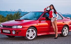 Картинка взгляд, девушка, Девушки, Subaru, прическа, красный авто