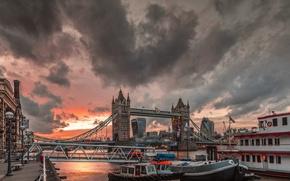Картинка облака, Англия, Лондон, Тауэрский мост