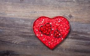 Картинка любовь, сердце, конфеты, сердечки, red, love, heart, wood, romantic, Valentine's Day