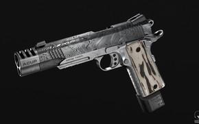 Картинка пистолет, оружие, gun, weapon, гравировка, кастом, custom, M1911, М1911, engraving, Kimber, Кимбер, 3D Wren, 3Д ...