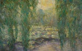 Картинка пейзаж, картина, Бланш Моне, Blanche Hoschede-Monet, Кувшинки