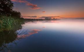 Картинка облака, озеро, отражение, рассвет, утро, Нидерланды, Голландия
