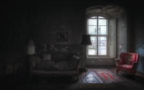 Картинка диван, кресло, окно