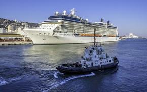 Картинка пристань, корабли, лайнер