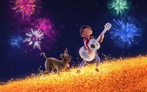Обои собака, Disney, звёзды, салют, мультфильм, Тайна Коко, Miguel, фэнтези, поле, PIXAR, гитара, небо, Coco, мальчик