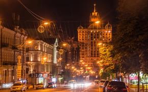 Картинка дорога, деревья, машины, ночь, огни, дома, фонари, Украина, улицы, Киев