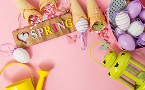 Картинка бабочки, фон, розовый, яйца, весна, Пасха, рожок, pink, spring, Easter, eggs, decoration, Happy, вафельный